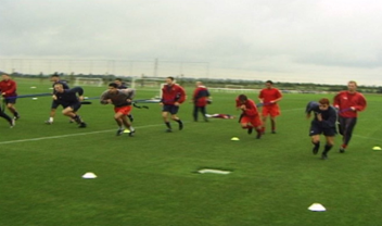 Arsenal players doing SAQ training using ViperBelt
