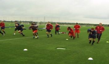 Arsenal players doing SAQ training using ViperBelt